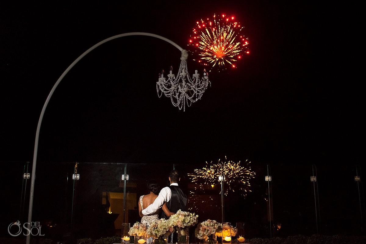 Destination Wedding Grand Velas Riviera Maya Playa del Carmen Mexico bride and groom enjoying fireworks