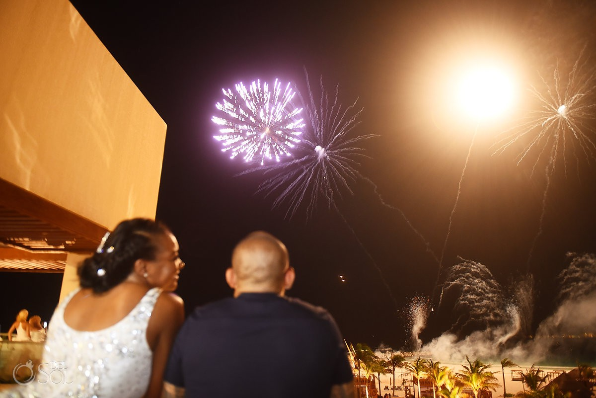 fireworks at night hyatt ziva cancun luxury destination cancun wedding