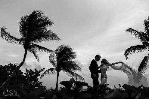 Bride and Groom Grand Velas Beach Wedding