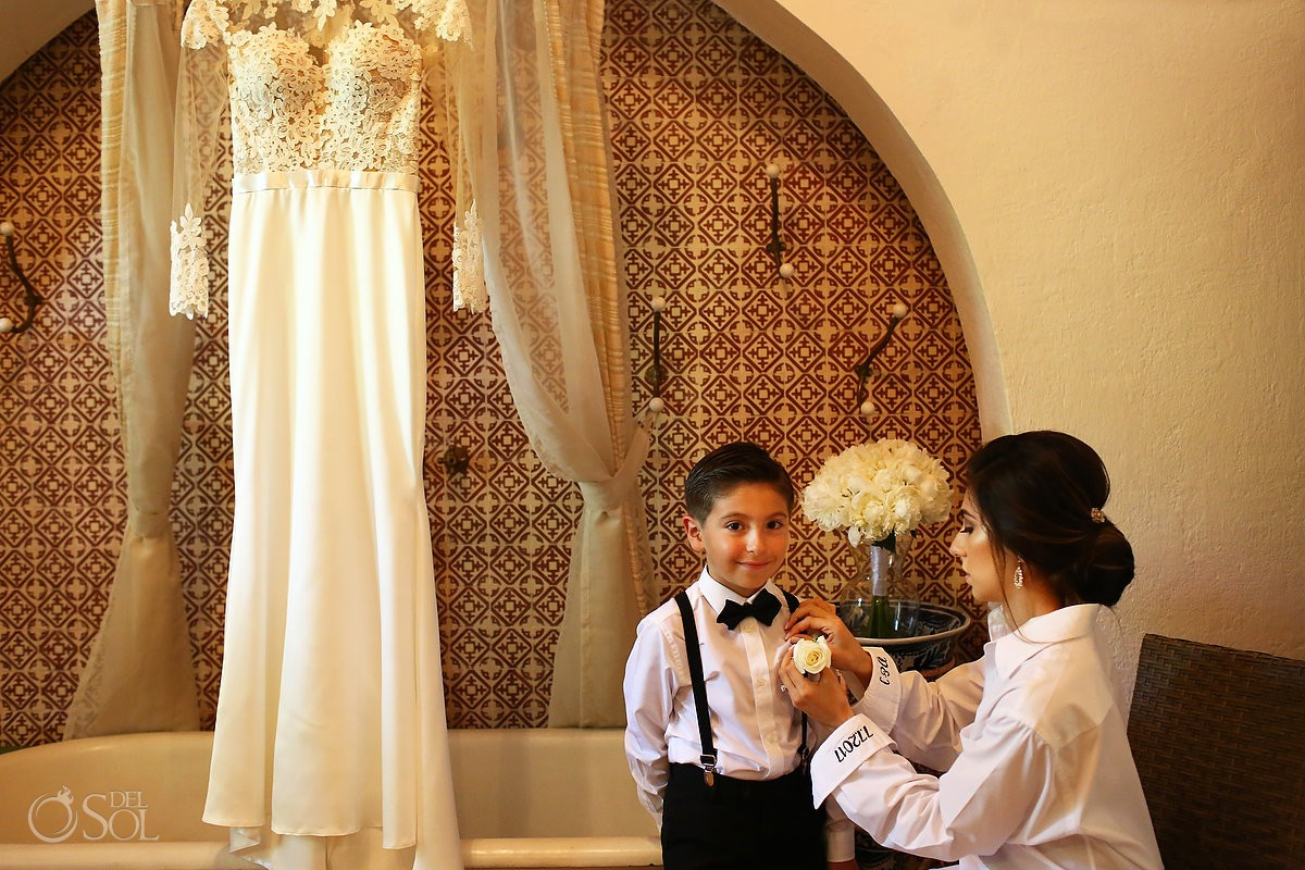 Bride and son getting ready love moments Guadalupe Chapel Xcaret Park and Hotel Hard Rock Riviera Maya Mexico