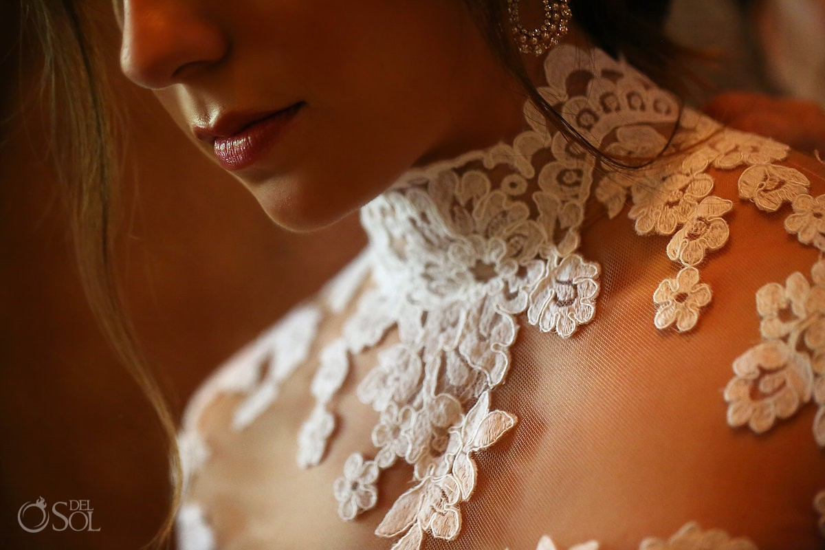 Beautiful bride detail getting ready destination wedding Guadalupe Chapel Xcaret Park and Hotel Hard Rock Riviera Maya Mexico