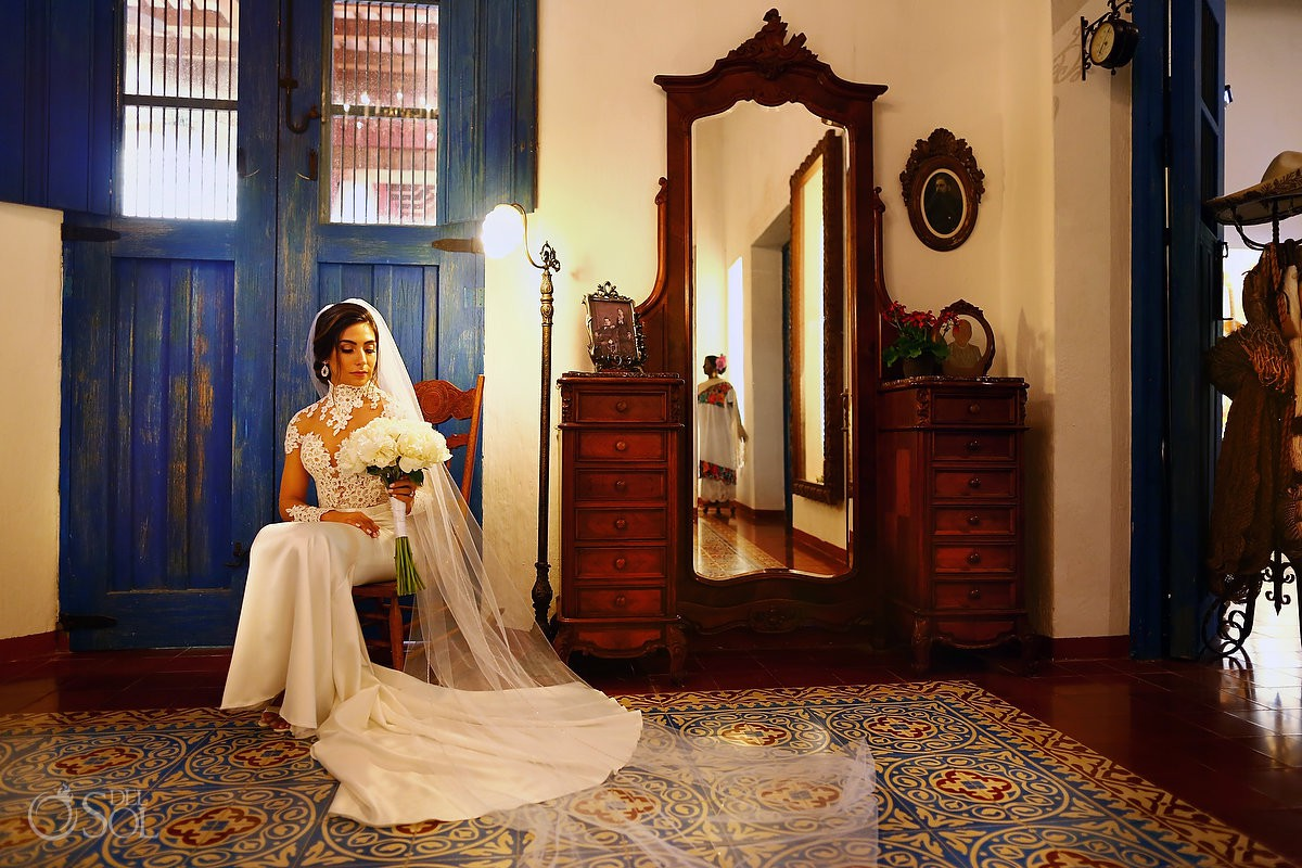 beautiful candid bride portrait destination wedding Guadalupe Chapel Xcaret Park and Hotel Hard Rock Riviera Maya Mexico