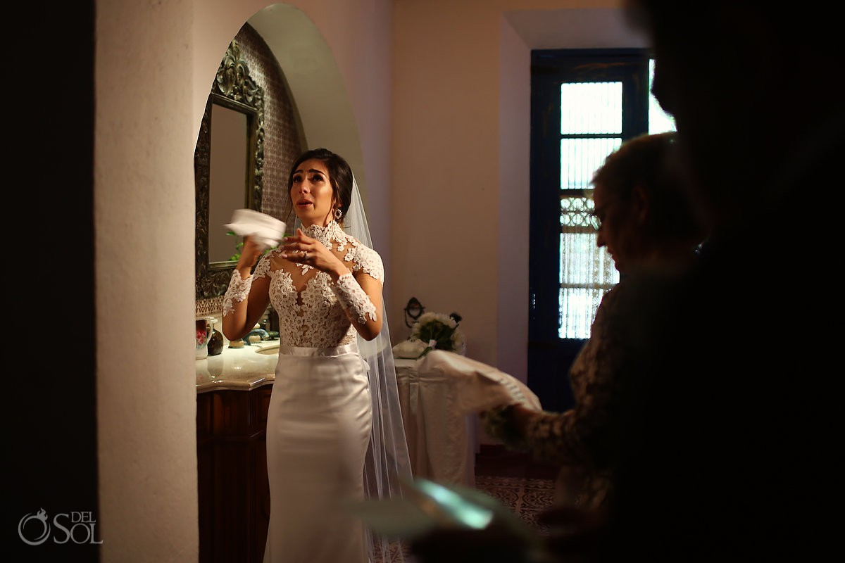 Lovely moments bride crying Guadalupe Chapel Xcaret Park and Hotel Hard Rock Riviera Maya Mexico