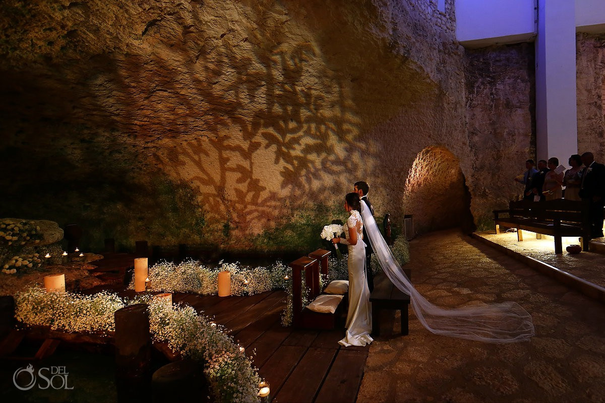 Church wedding ceremony Guadalupe Chapel Xcaret Park and Hotel Hard Rock Riviera Maya Mexico