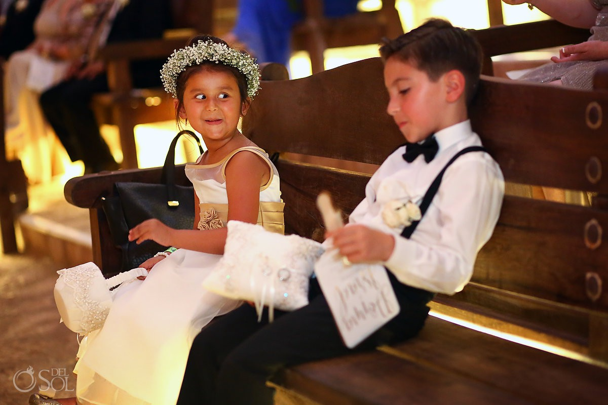 kids playing wedding ceremony Guadalupe Chapel Xcaret Park Riviera Maya Mexico