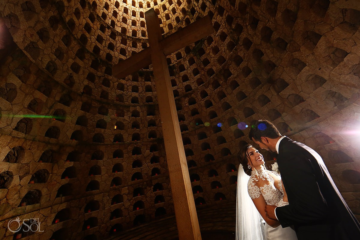 Romantic bride and groom wedding portrait Guadalupe Chapel Xcaret Park and Hotel Hard Rock Riviera Maya Mexico