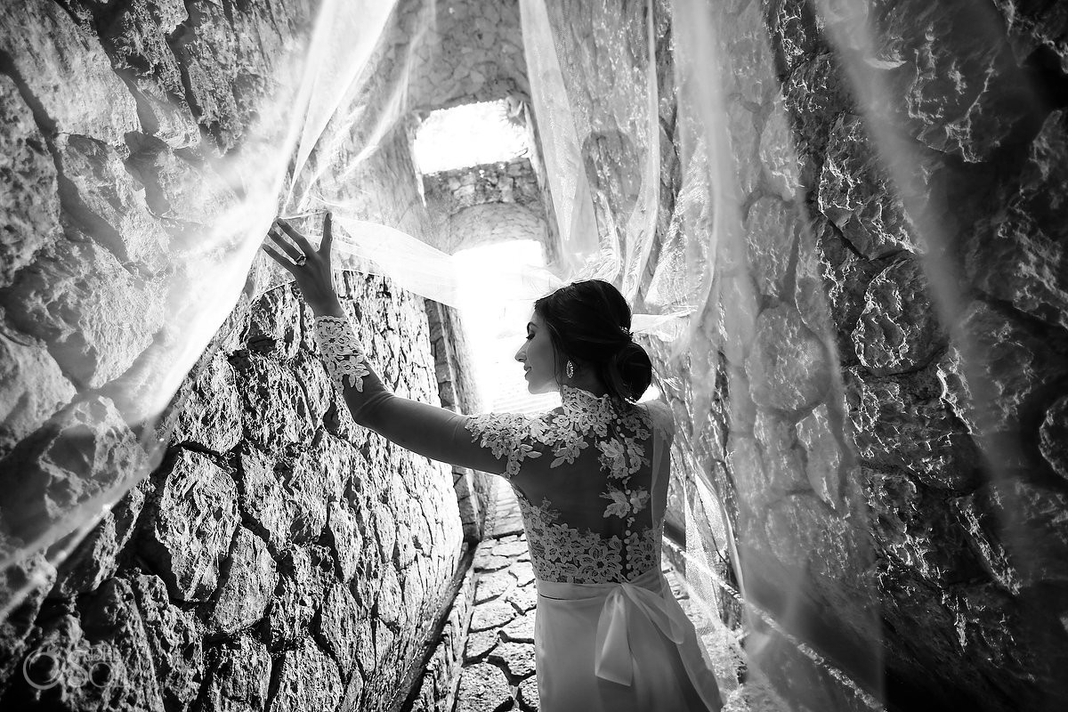 creative black and white bride veil portrait Xcaret Park Riviera Maya Mexico