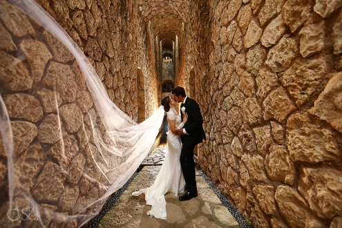 Bride and groom destination wedding portrait Xcaret Park Riviera Maya Mexico