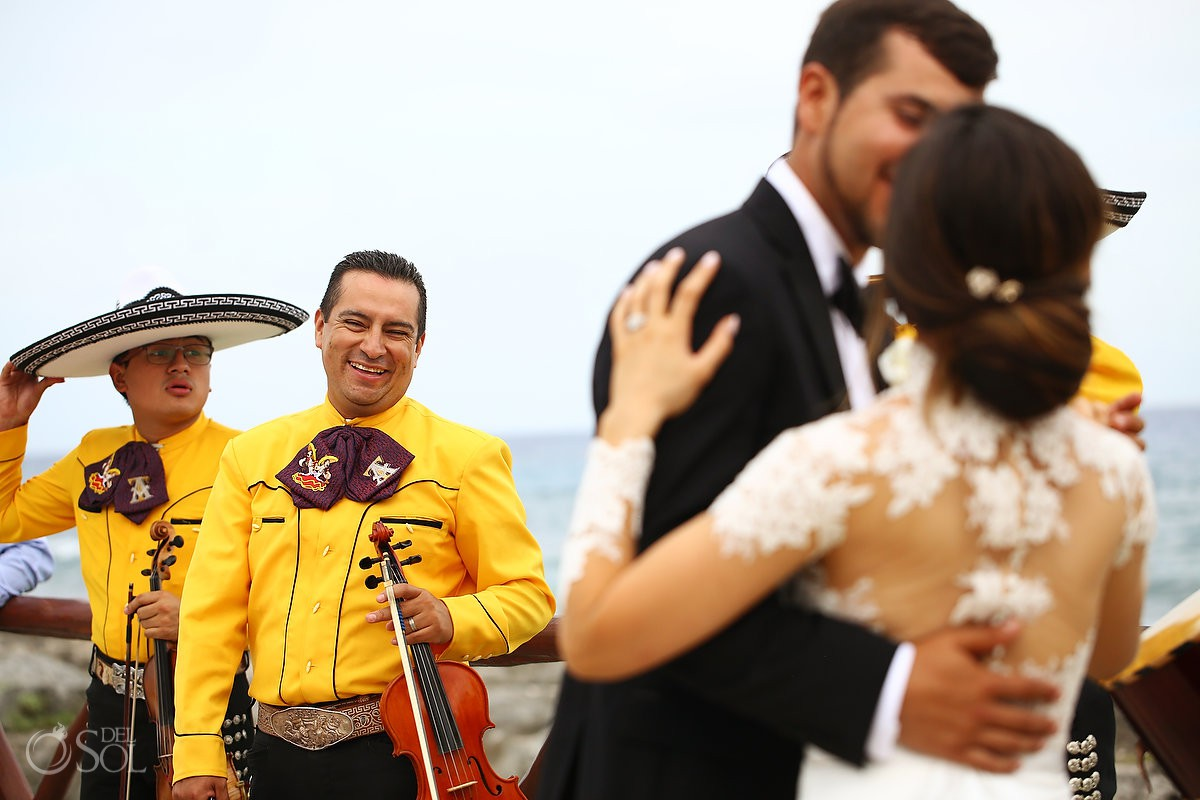 Happy wedding mariachi Guadalupe Chapel Xcaret Park and Hotel Hard Rock Riviera Maya Mexico