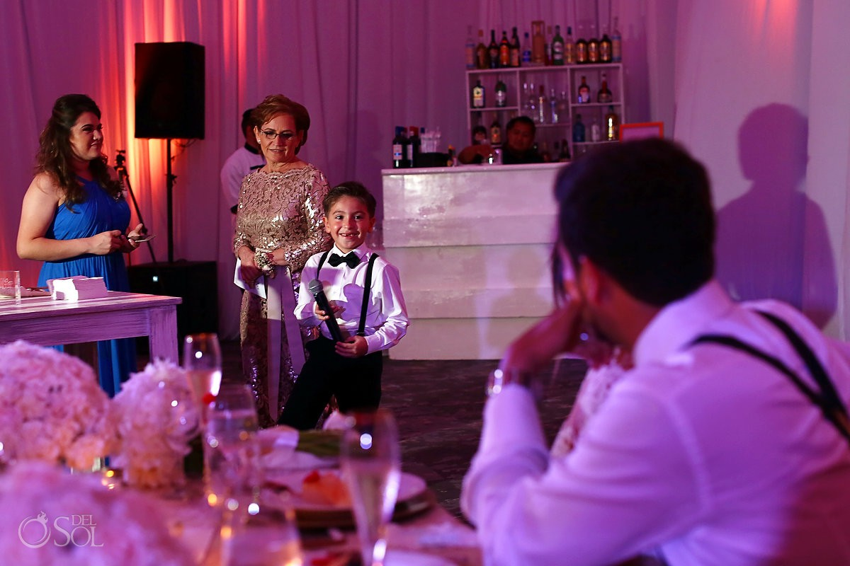 Bride and groom son's speeches destination wedding Hotel Hard Rock Riviera Maya Mexico