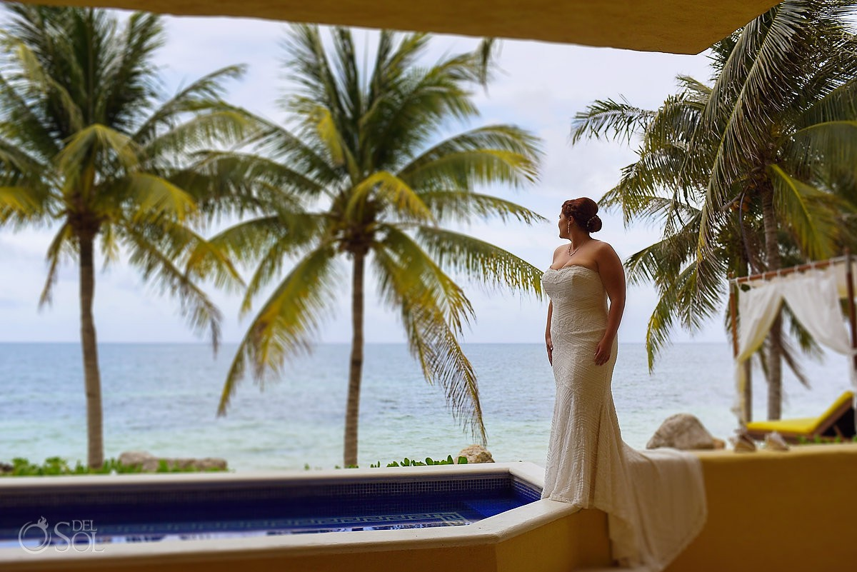 Destination Beach Wedding View bride portrait Zoe'try Paraiso de la Bonita Riviera Maya, Mexico