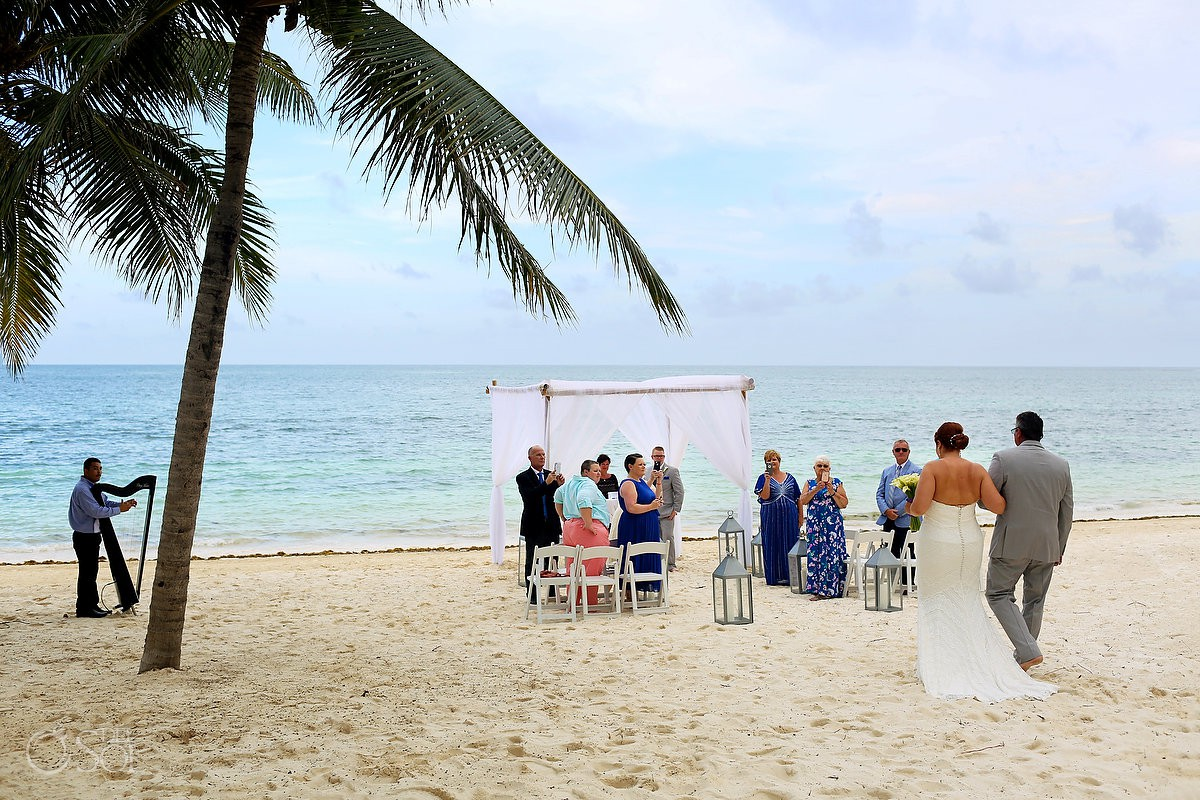 Father giving bride away Zoetry Paraiso de la Bonita Beach Wedding