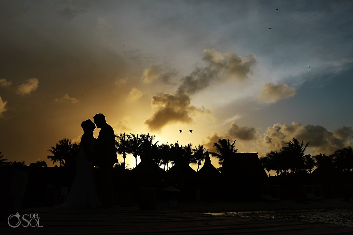 Bride and groom sunset silhouette wedding Zo'etry Paraiso de la Bonita Riviera Maya, Mexico