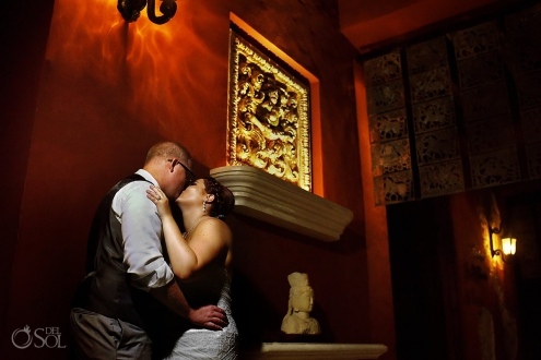 Bride and groom night loving portrait Paraiso de la Bonita Beach Wedding Riviera Maya, Mexico