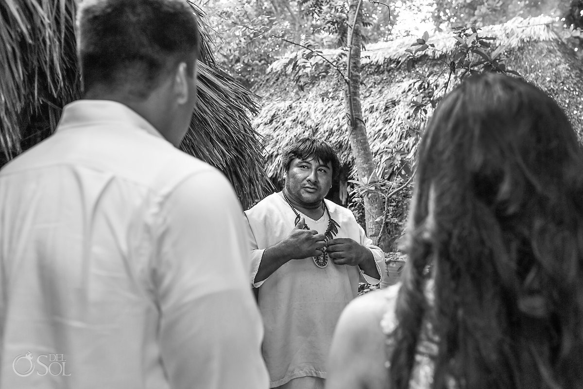 Mayan shaman at Mayan Village welcomes the couple to be married in Mayan ceremony