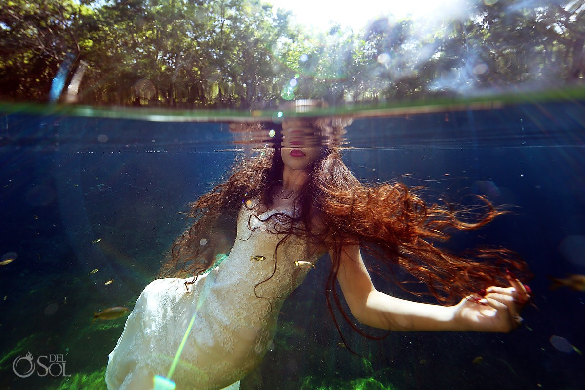 Red lips long hair underwater photography Trash the Dress cenote Riviera Maya Mexico