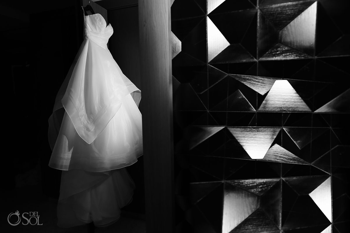 Essense of Australia wedding dress artistic black and white destination wedding photo