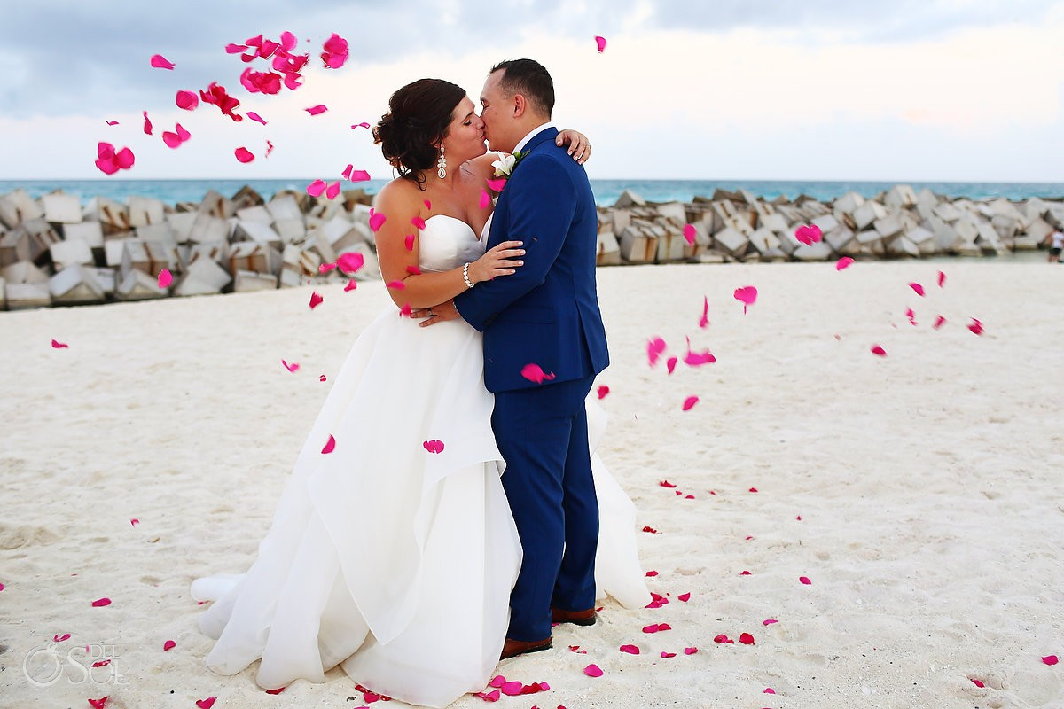 Bride and groom flower petals Hyatt Ziva Cancun Luxury destination wedding venue