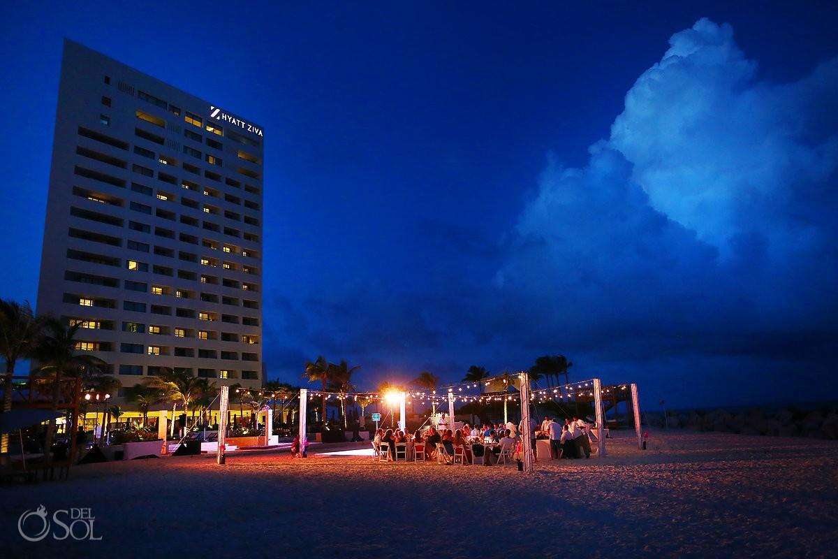 Hyatt Ziva Destination wedding Photography beach reception venue long exposure Cancun Mexico
