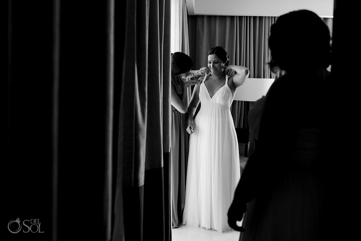 black and white wedding photo bride getting ready Secrets Akumal