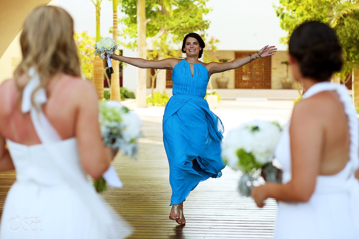 sister runs to meet bride - bride same sex LGBT Secrets Akumal wedding