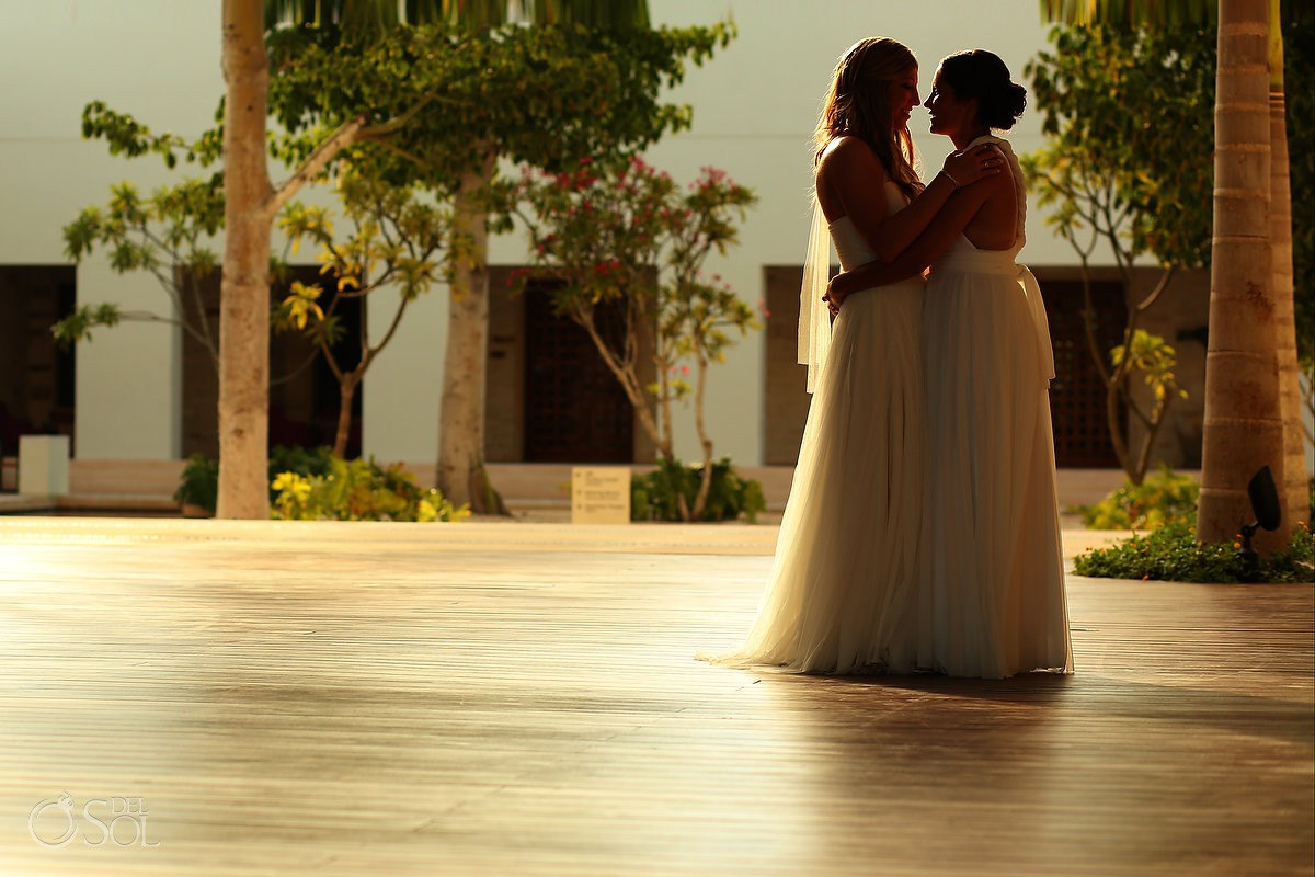 bride and bride same sex destination wedding portrait Secrets Akumal Riviera Maya Mexico