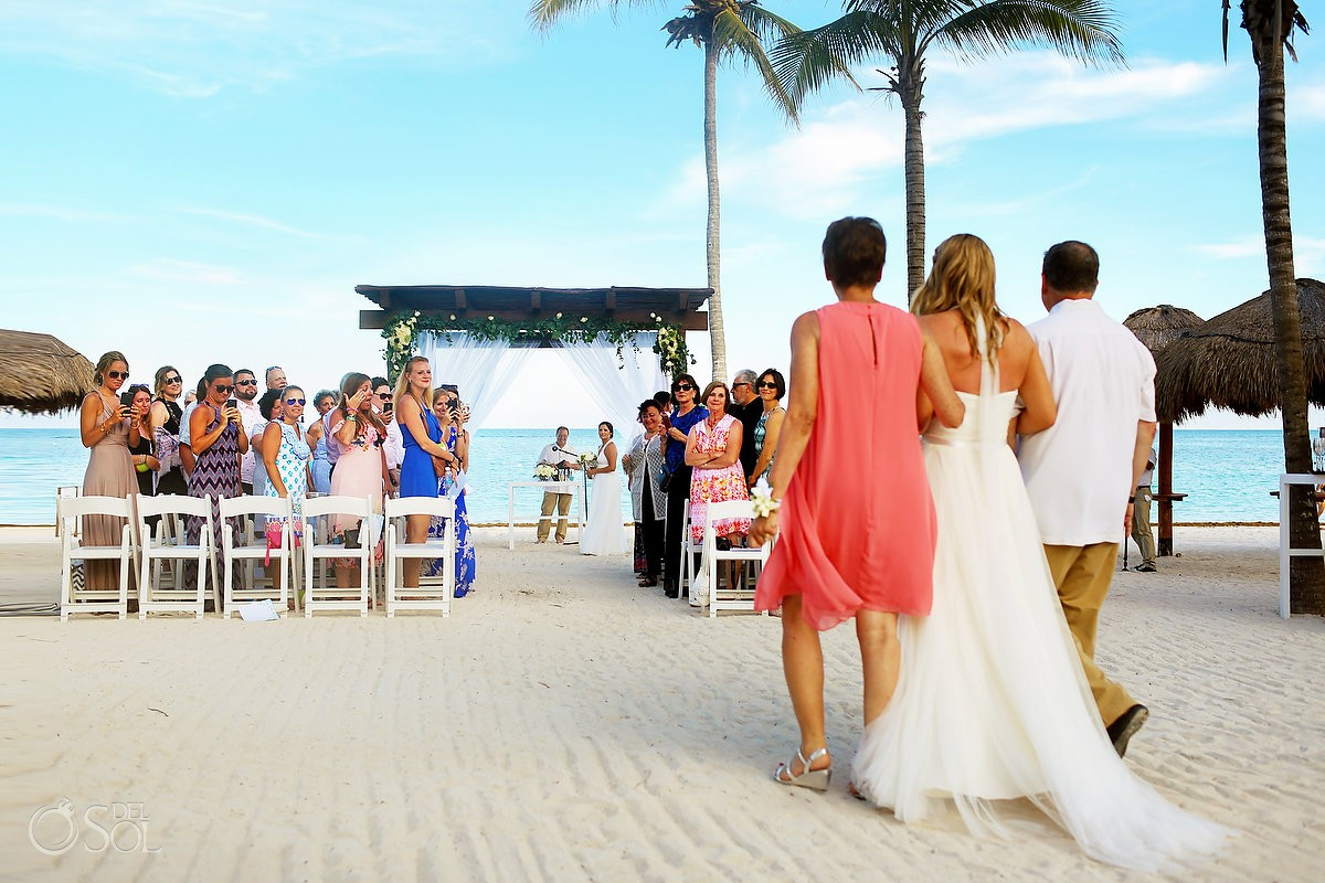 bride walks into wedding ceremony to meet her bride gay beach wedding secrets Akumal