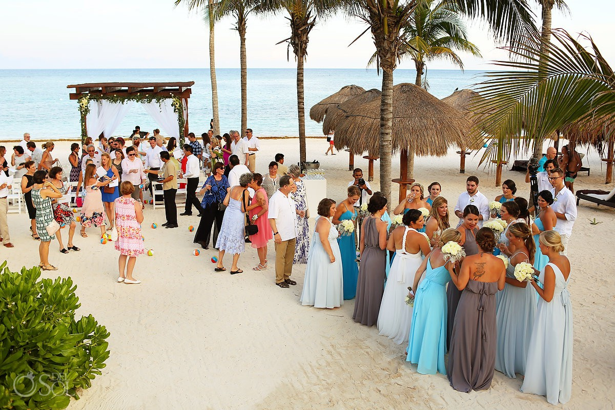 celebrations after beach wedding ceremony Secrets Akumal, Riviera Maya, Mexico