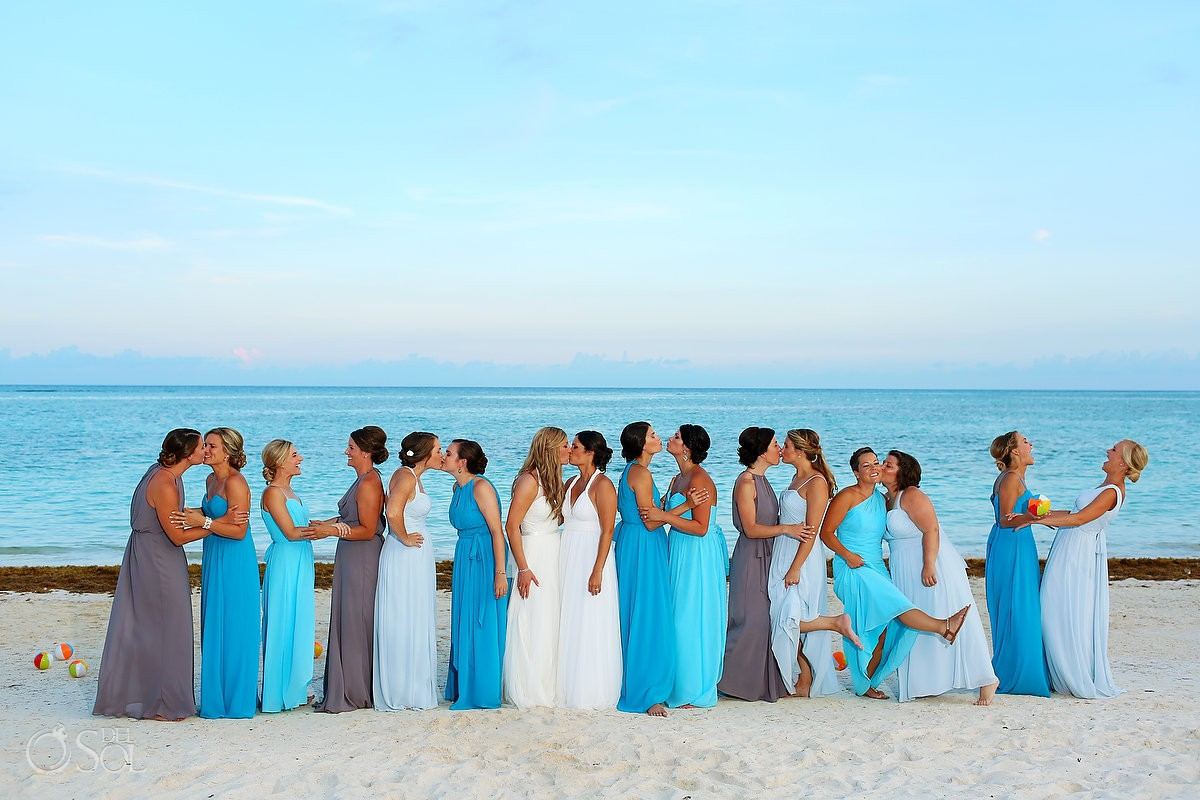 fin same sex bridal party photo ideas all bridesmaids kissing gay wedding Secrets Akumal Riviera Maya Mexico