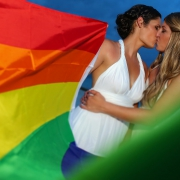 #loveislove same sex wedding bride-bride gay wedding photo ideas rainbow flag