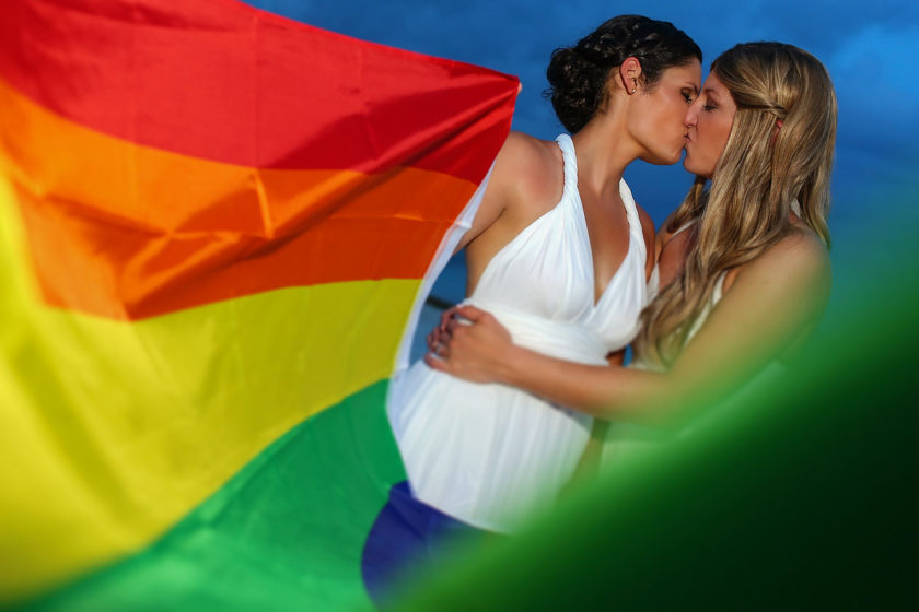 #loveislove same sex wedding bride and bride gay wedding photo ideas rainbow flag