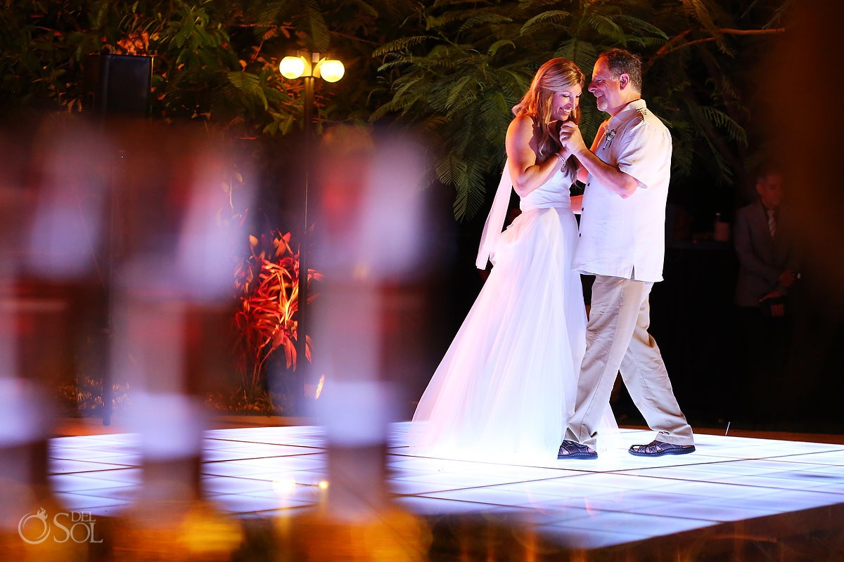 bride and father first dance destination wedding reception Secrets Akumal, Riviera Maya, Mexico