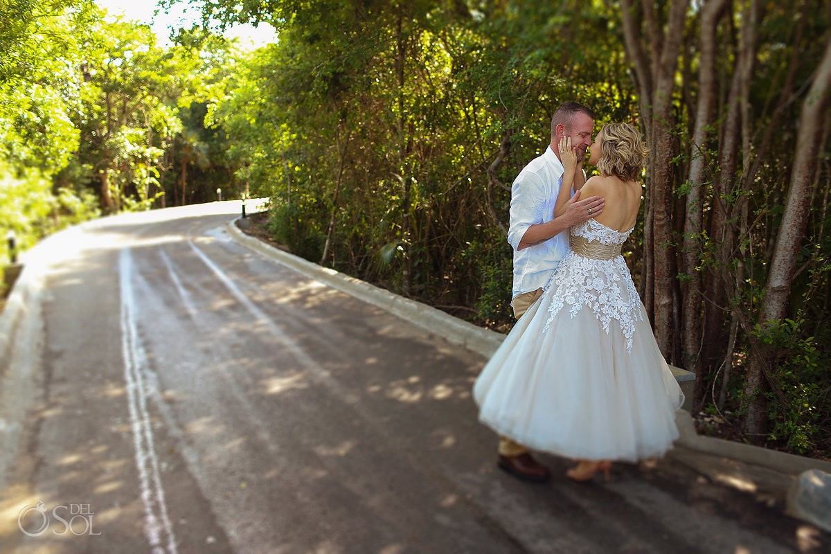 Bride and Groom first look destination Wedding Surprise Vow Renewal Portraits at Tulum Mexico