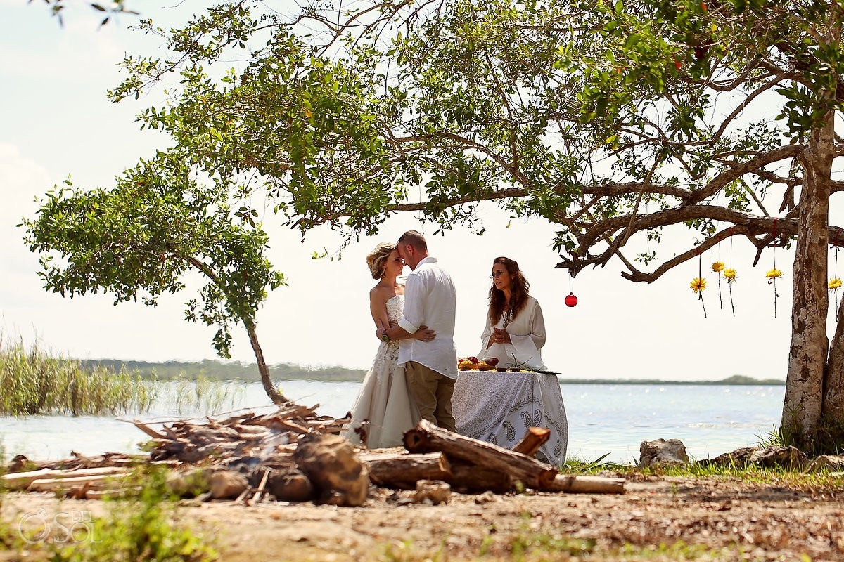 Destination wedding bride and groom Surprise Vow Renewal Portraits Tulum Mexico