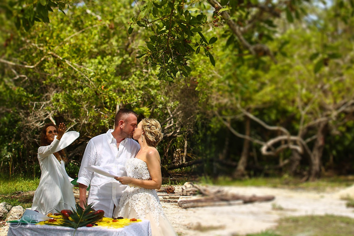 First kiss Surprise Vow Renewal Portraits Tulum Mexico