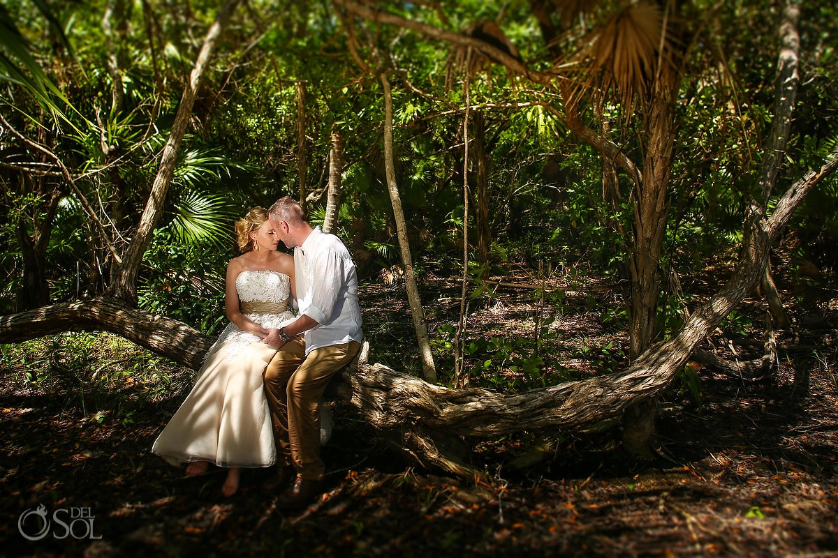 Bride and groom romantic wedding portraits Tulum Mexico