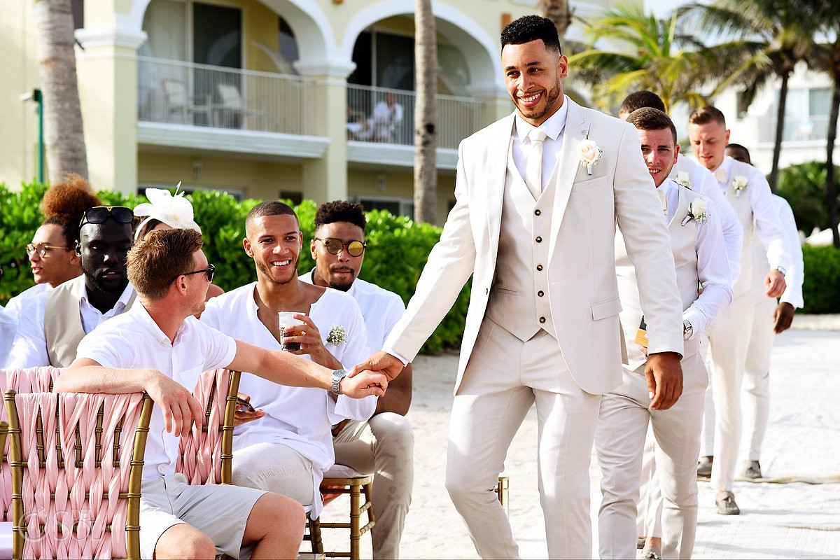 groom enters beach destination wedding Ceremony Dreams Tulum Riviera Maya Mexico