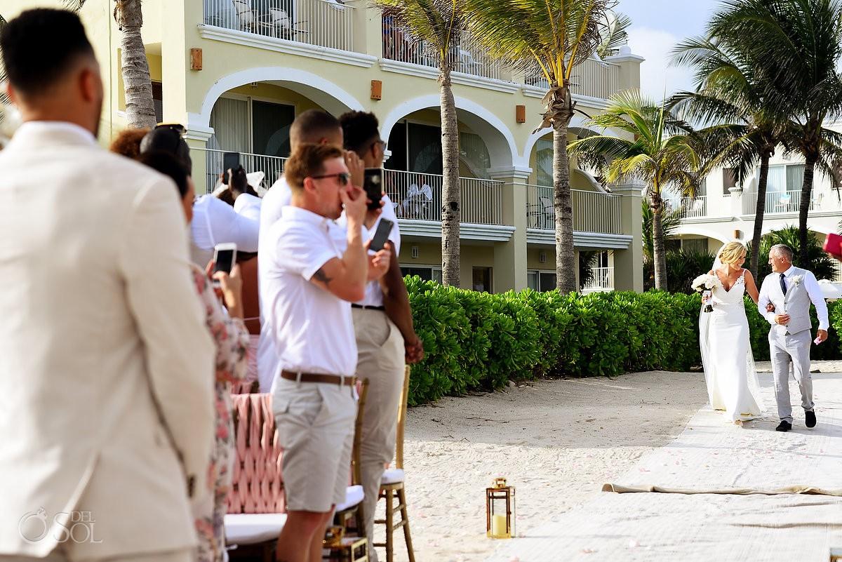 bride entrance beach destination wedding Dreams Tulum Riviera Maya Mexico