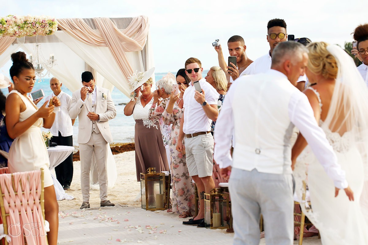 Dreams Tulum Beach Wedding first look groom crying seeing bride for the first time
