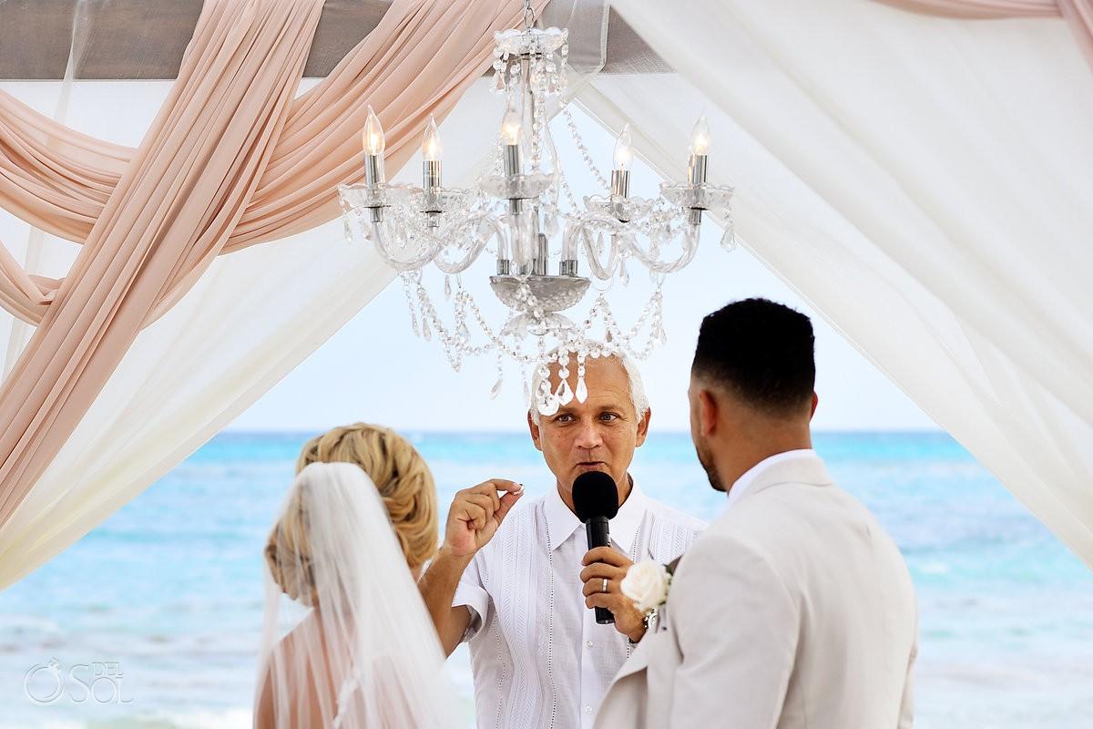 ring moment beach wedding ceremony Dreams Tulum Riviera Maya Mexico