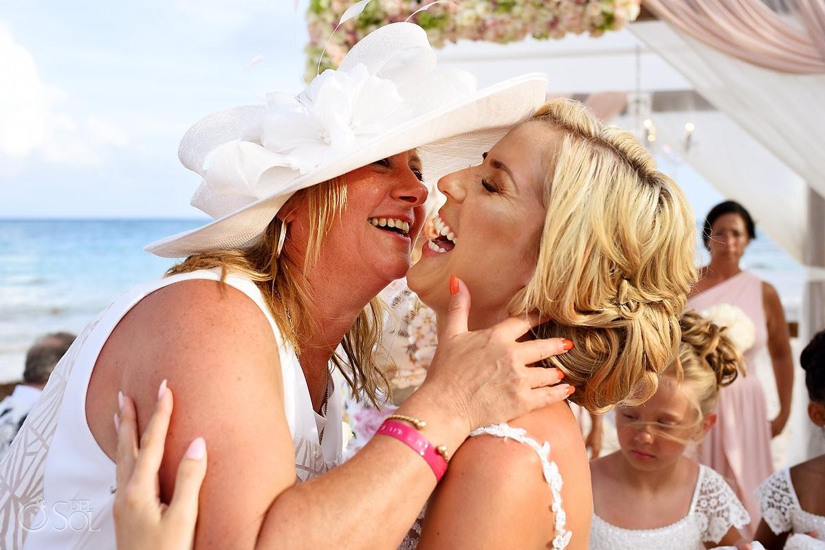 emotional celebration moment after wedding ceremony Dreams Tulum Riviera Maya Mexico