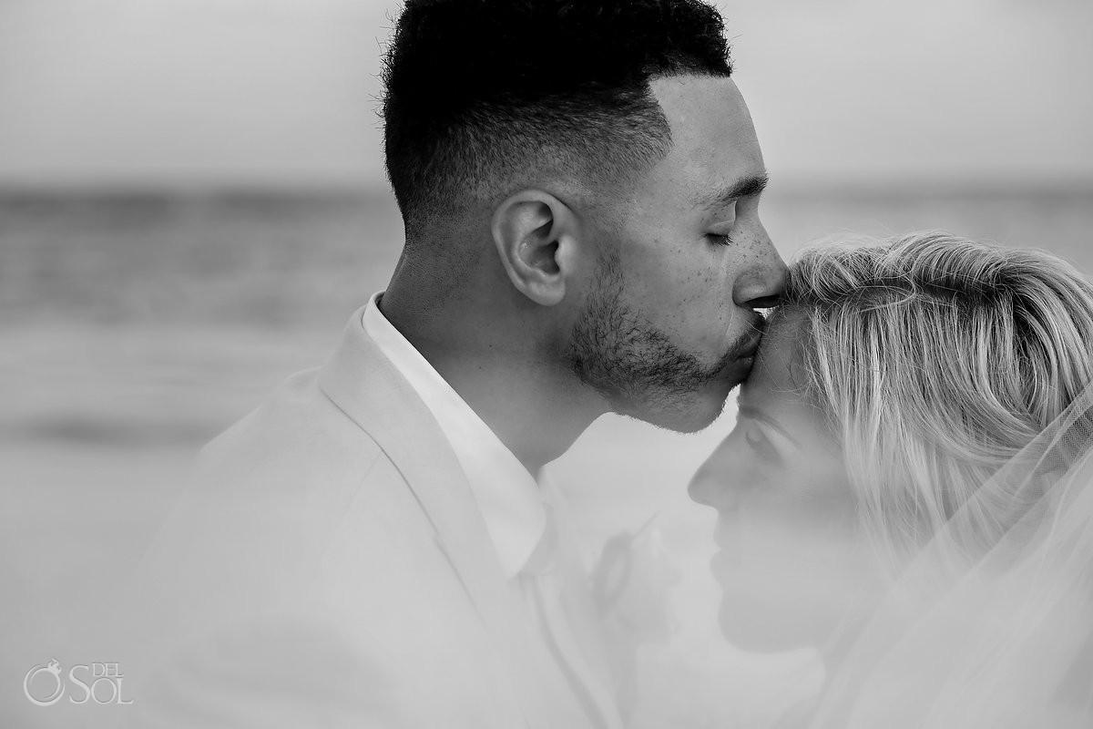 black and white wedding portrait Dreams Tulum Beach Wedding