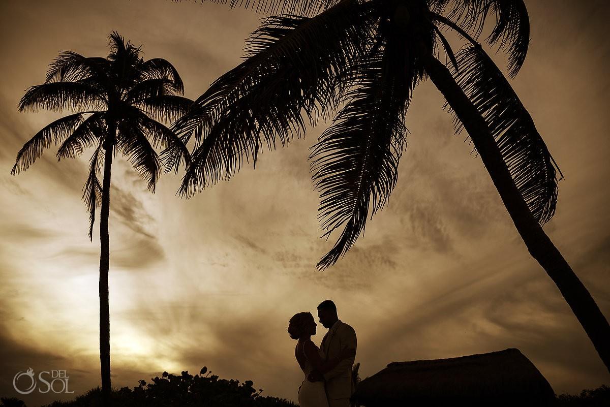 destination wedding sunset silhouette portrait Dreams Tulum Riviera Maya Mexico