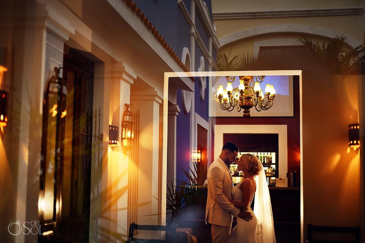 creative wedding photo reflection Dreams Tulum Riviera Maya Mexico