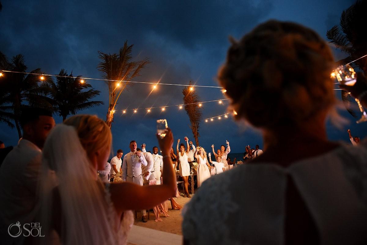 toasts destination wedding reception Dreams Tulum Riviera Maya Mexico