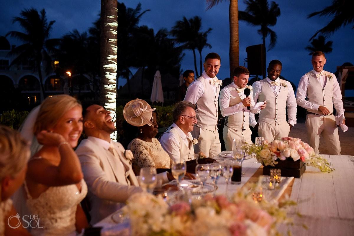 groomsmen speeches destination wedding reception Dreams Tulum Riviera Maya Mexico