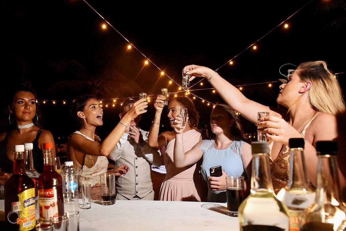 tequila shots destination wedding reception Dreams Tulum Riviera Maya Mexico