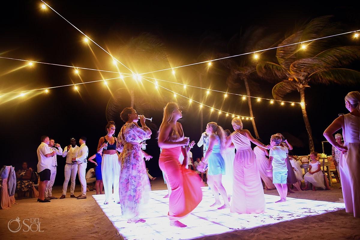 long exposure photo tripod shot destination wedding reception Dreams Tulum Riviera Maya Mexico