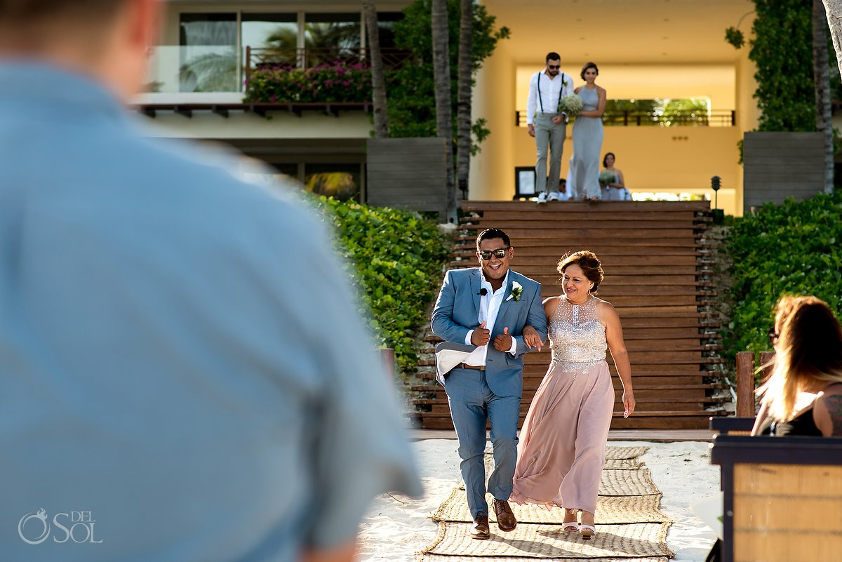 Mother of groom giving her son away wedding ceremony Grand Velas Riviera Maya Playa del Carmen Mexico