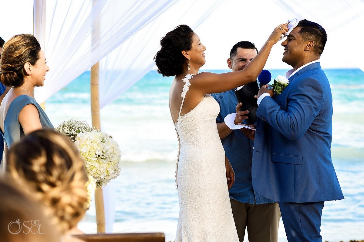 Fun wedding ceremony moments Grand Velas Riviera Maya Playa del Carmen Mexico